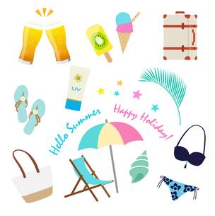 夏の休暇 アイコンセットのイラスト素材 [FYI01250266]