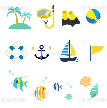 夏の海 アイコンセットのイラスト素材 [FYI01250269]