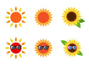 太陽とひまわりのイラスト素材 [FYI01250271]