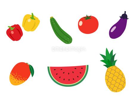 夏の果物と野菜のイラスト素材 [FYI01250278]