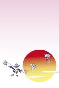 ネズミと凧の年賀状のイラスト素材 [FYI01250654]