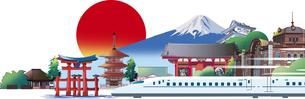 日本の風景や建物、乗り物のイラスト素材 [FYI01251213]