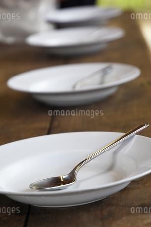 アウトドアでのお皿とスプーンの写真素材 [FYI01251709]