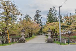 春の米沢城跡の風景の写真素材 [FYI01252465]