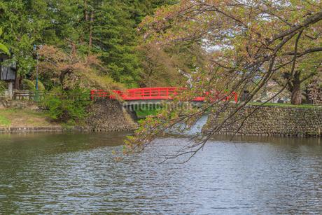 春の米沢城跡の菱門橋の風景の写真素材 [FYI01252762]