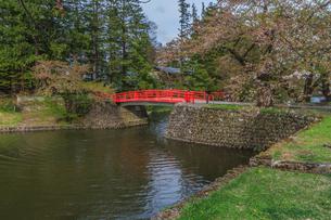 春の米沢城跡の菱門橋の風景の写真素材 [FYI01252773]