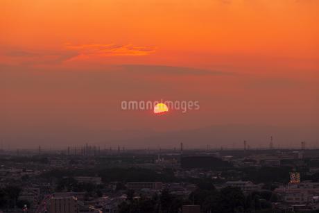 練馬区から夕日と街並みの写真素材 [FYI01253239]