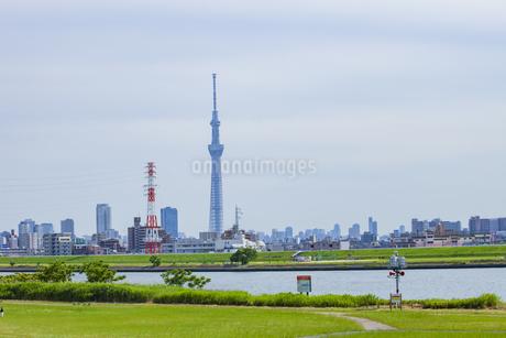東京すかいツリーと荒川の写真素材 [FYI01253384]