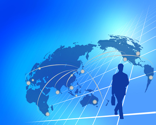 ビジネス背景 日本経済 世界地図 世界販売 貿易のイラスト素材 [FYI01253583]