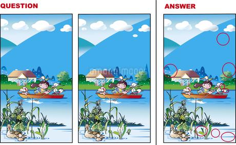 間違い探し、水辺の風景のイラスト素材 [FYI01253587]