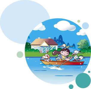 ボートに乗って遊ぶ子供のイラスト素材 [FYI01253625]