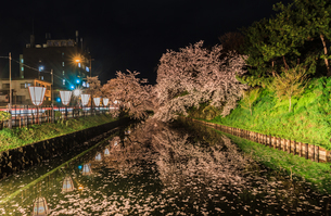 春のライトアップされた弘前城跡の風景の写真素材 [FYI01253669]