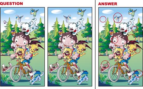 間違い探し、自転車に乗る女の子のイラスト素材 [FYI01253958]