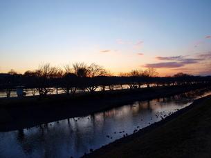 夕暮れの川辺の写真素材 [FYI01254071]