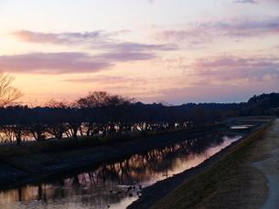 夕暮れの川辺の写真素材 [FYI01254072]