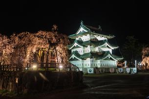春のライトアップされた弘前城跡の移転した天守の風景の写真素材 [FYI01254130]