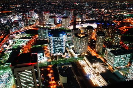 ランドマークタワーからの横浜夜景の写真素材 [FYI01254488]