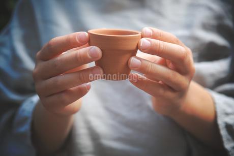 素焼きの植木鉢を持つ小さな手の写真素材 [FYI01254518]