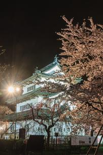 春のライトアップされた弘前城跡の移転した天守の風景の写真素材 [FYI01254547]