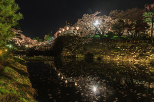 春のライトアップされた弘前城跡の風景の写真素材 [FYI01254835]