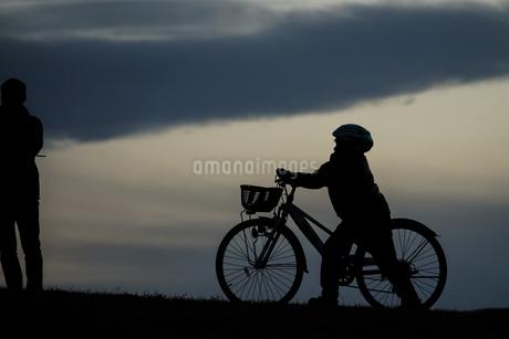 日没の丘のシルエット@武蔵野の森公園の写真素材 [FYI01254892]