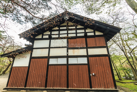 春の久保田城の御物頭御番所の風景の写真素材 [FYI01254909]
