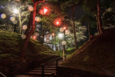 春のライトアップされた久保田城跡の長坂門跡の風景の写真素材 [FYI01255207]