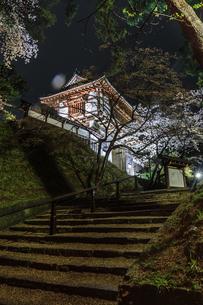 春のライトアップされた久保田城跡の表門の風景の写真素材 [FYI01255209]