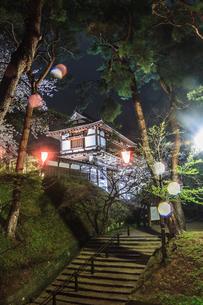 春のライトアップされた久保田城跡の風景の写真素材 [FYI01255211]