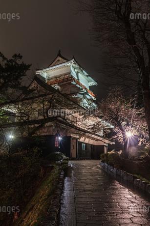春のライトアップされた久保田城跡の御隅櫓の風景の写真素材 [FYI01255223]