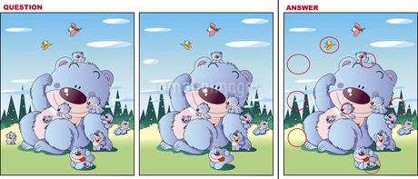 間違い探しイラスト、クマがたくさんのイラスト素材 [FYI01255858]