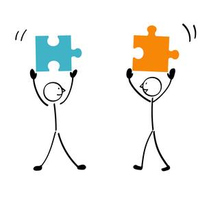 2人のパズルと連結のイラスト素材 [FYI01255867]