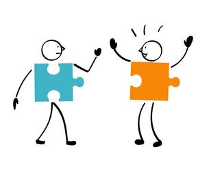 2人のパズルと連結のイラスト素材 [FYI01255868]