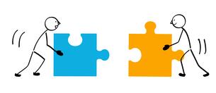 2人のパズルと連結のイラスト素材 [FYI01255869]