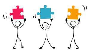 3人のパズルと連結のイラスト素材 [FYI01255871]
