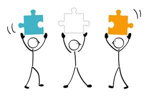 3人とパズルと連結 不足のイラスト素材 [FYI01255875]