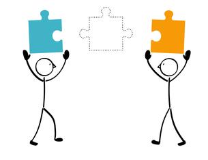 2人とパズル 不足のイラスト素材 [FYI01255876]