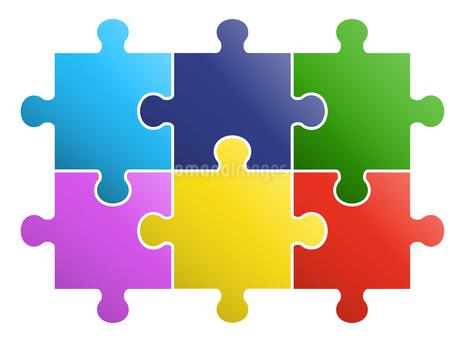 6ピースパズル ビジネスアイコンのイラスト素材 [FYI01255881]