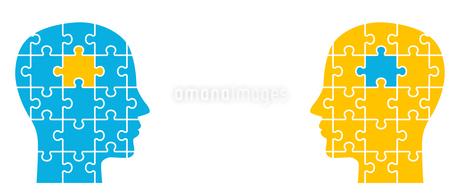 パズルと2人の顔のイラスト素材 [FYI01255891]