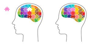 パズルと脳 顔のイラスト素材 [FYI01255896]
