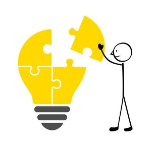 電球のパズルと人のイラスト素材 [FYI01255913]