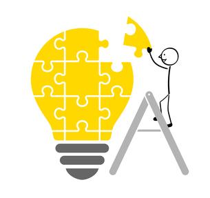電球のパズルと人のイラスト素材 [FYI01255914]
