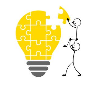 電球のパズルと人のイラスト素材 [FYI01255915]