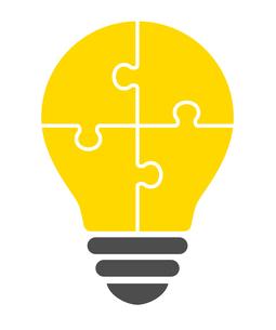 パズルの電球イラストのイラスト素材 [FYI01255921]