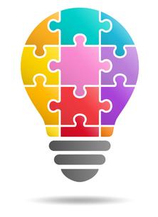 パズルの電球イラストのイラスト素材 [FYI01255922]