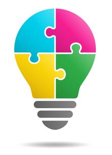 パズルの電球イラストのイラスト素材 [FYI01255923]