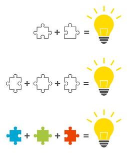 パズルと電球イラスト ソリューションイメージのイラスト素材 [FYI01255924]