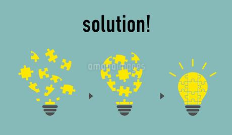 パズルと電球イラスト ソリューションイメージのイラスト素材 [FYI01255926]