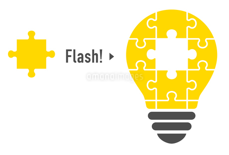 パズルの電球イラスト(閃き)のイラスト素材 [FYI01255928]