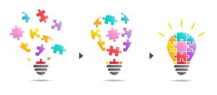 パズルの電球イラスト(閃き)のイラスト素材 [FYI01255929]